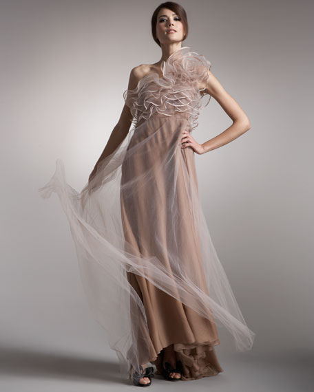 Tulle-Overlay One-Shoulder Gown