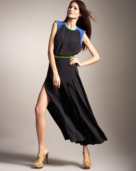 Pleated Slit Maxi Dress