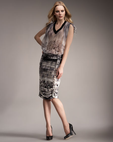 Rose-Print Ruched Skirt
