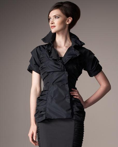 Ruched Short-Sleeve Jacket