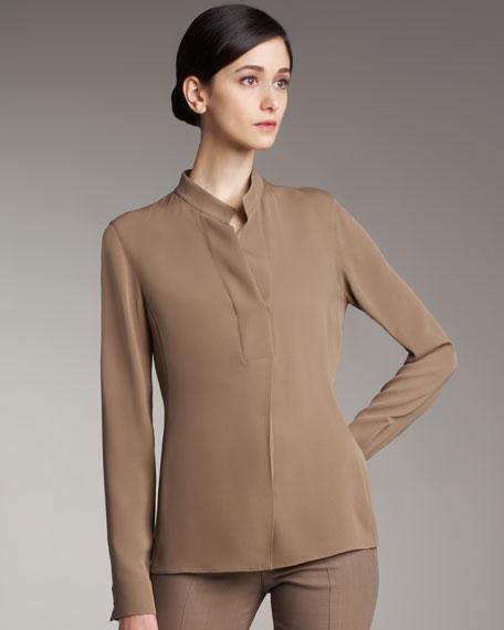 Polo-Style Silk Blouse