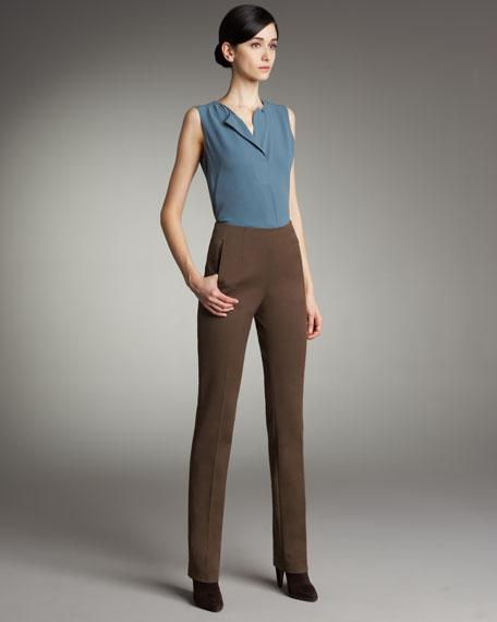 Zip-Pocket Slim-Leg Pants
