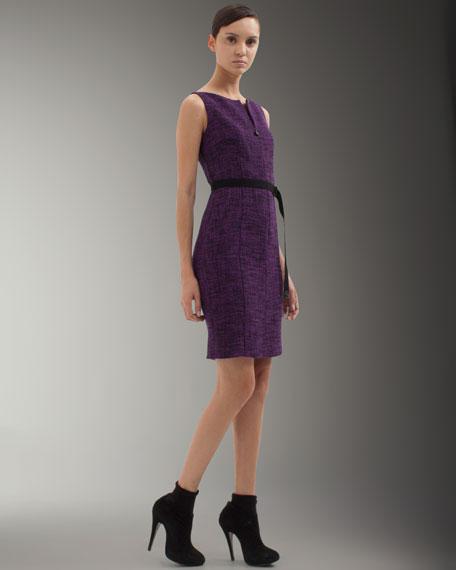 Belted Bateau-Neck Dress