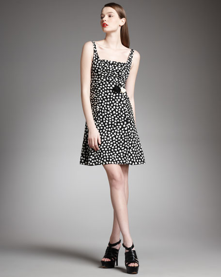 Ruched Heart-Print Dress
