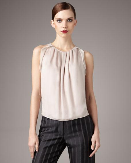 Plisse-Detail Silk Blouse