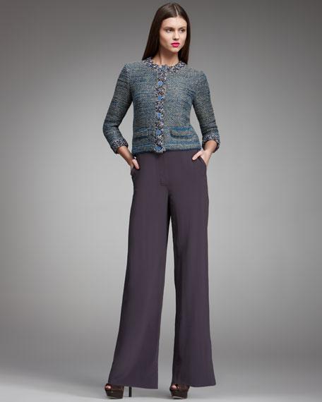 High-Waist Wide-Leg Pants, Violet Gray