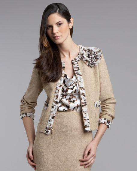 Exclusive Leopard-Trim Boucle Jacket
