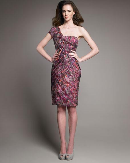 Printed One-Shoulder Dress