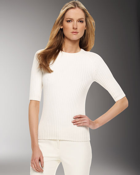 Ribbed Knit Sweater, White