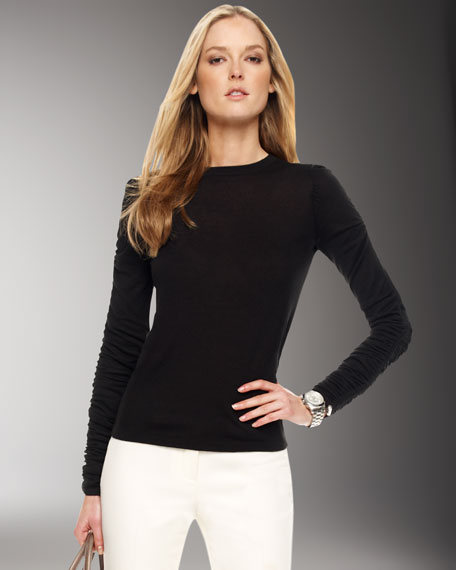 Ruched-Sleeve Sweater, Black
