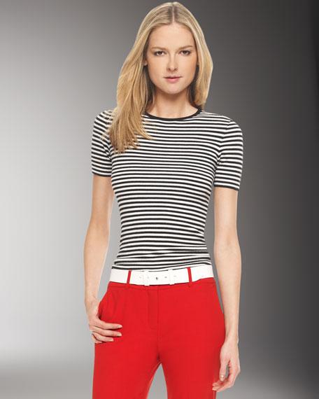 Super Cashmere Striped Tee, White