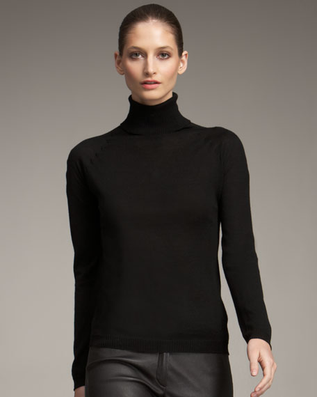 Wool-Silk Turtleneck Sweater