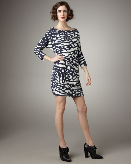 Spot-Print Shift Dress
