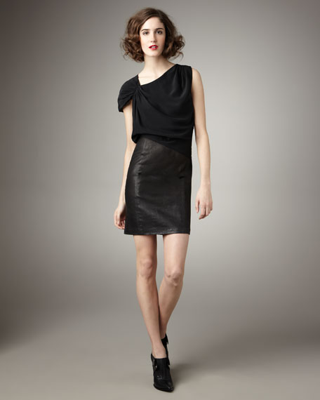 Combo Leather-Skirt Dress