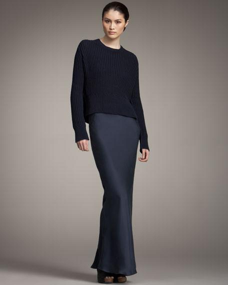 Long Silk Skirt, Midnight