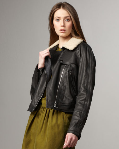 Shearling-Detailed Leather Bomber Jacket