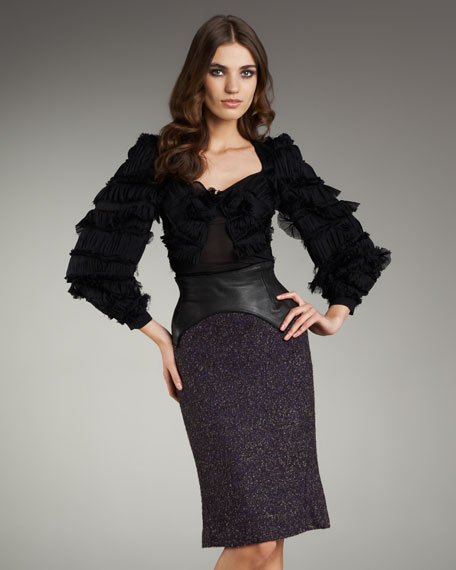 Leather-Waist Tweed Skirt