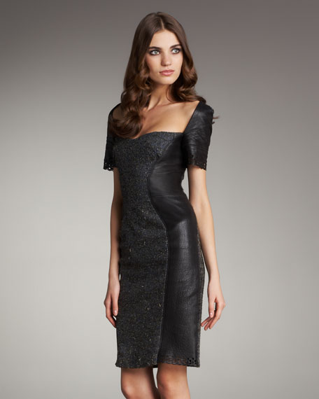 Leather and Tweed Panel Dress