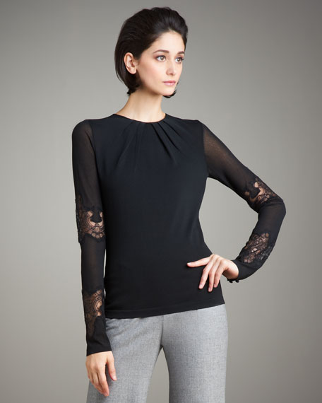 Lace-Inset Silk Knit Top