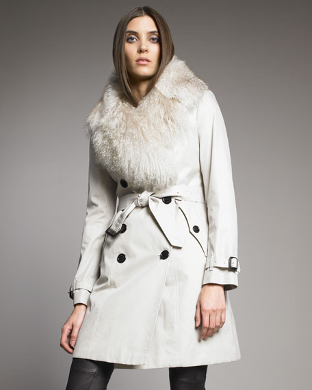 Shearling-Trim Trenchcoat