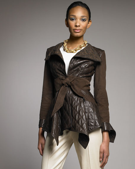 Tie-Waist Quilted Leather Jacket