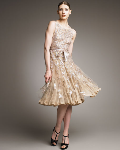 Metallic-Embroidered Cocktail Dress