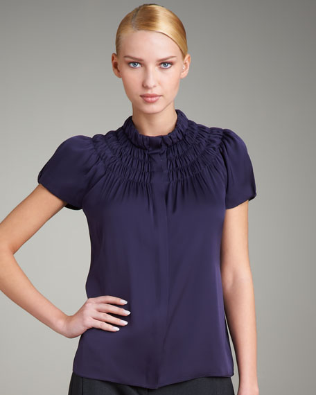 Button-Front Smocked Blouse