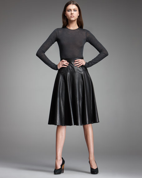 Leather/Jersey Combo Dress