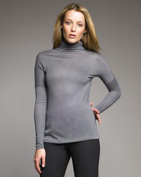 Drop-Shoulder Turtleneck, Gray