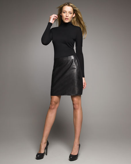 Tulip-Back Leather Skirt