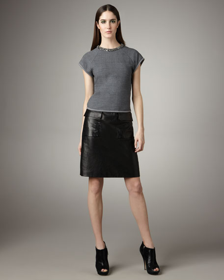 Leather Flap-Pocket Skirt