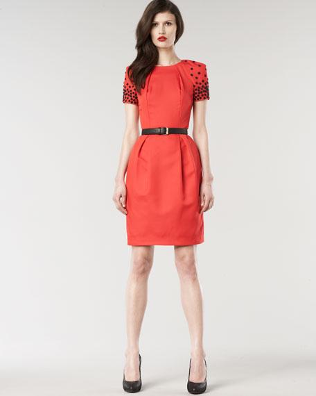Katie Beaded-Sleeve Dress