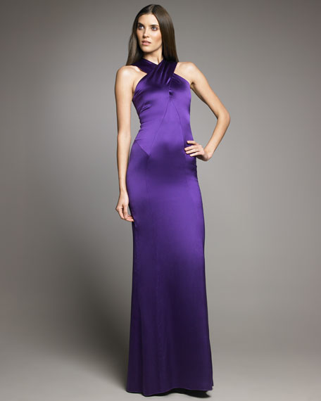 Joelle Cross-Neck Satin Gown