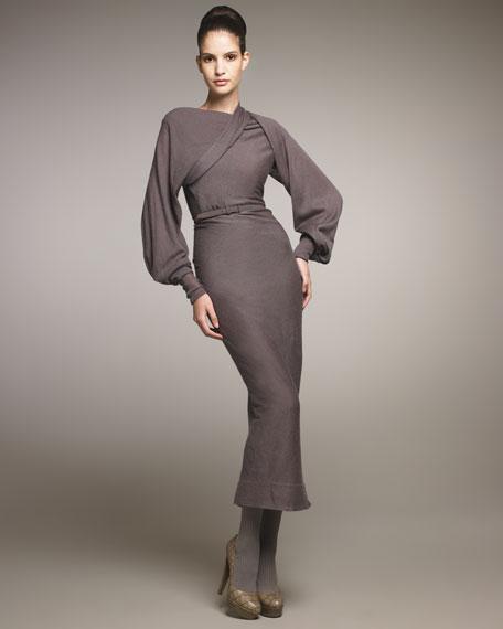 Belted Drape-Shoulder Dress