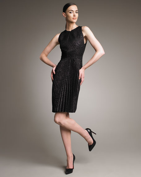 Pleated Jacquard Sheath Dress