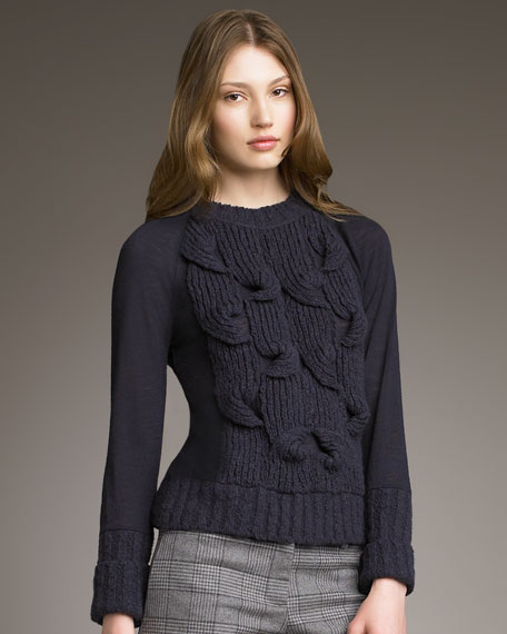 Cable & Smooth-Knit Sweater