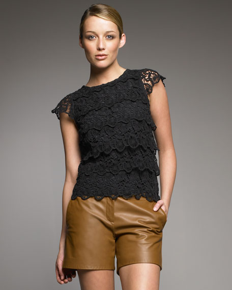 Tiered Cotton Lace Blouse