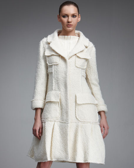 Pocketed Boucle Coat