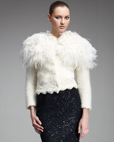 Feather-Collar Knit Jacket