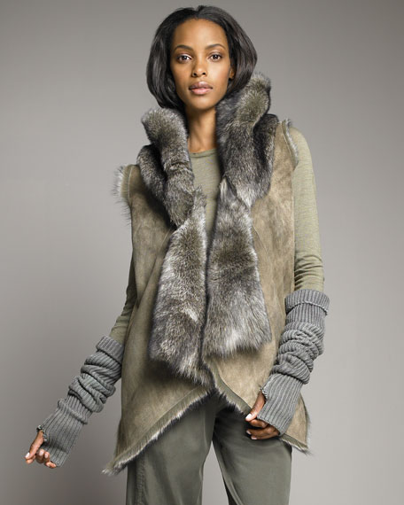 Hooded Shearling Vest