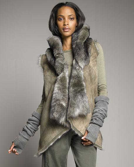 Hooded Shearling Vest