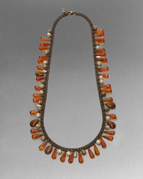 Long Jasper Beaded Necklace