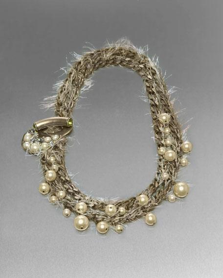 Beaded Eyelash-Trim Chain Necklace