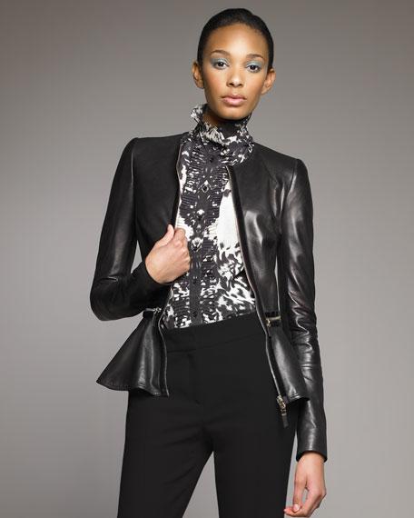 Velvet-Detail Leather Jacket