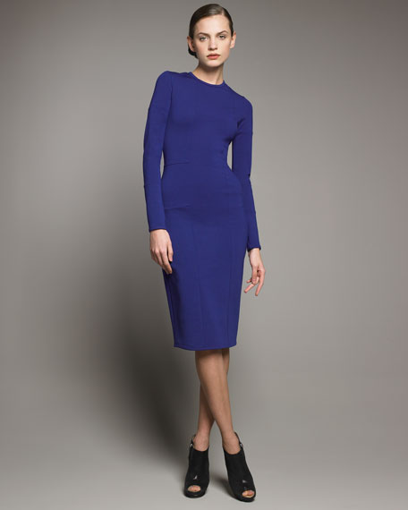Long-Sleeve Seamed Dress