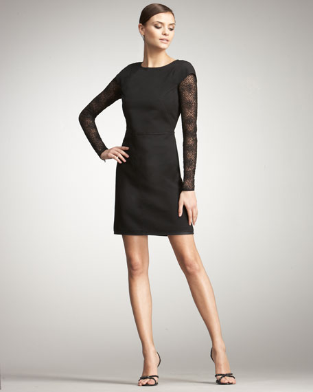 Dot-Sleeve Dress