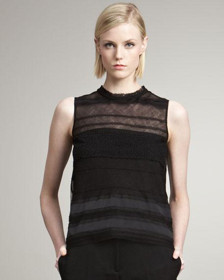 Sheer-Striped Sleeveless Blouse