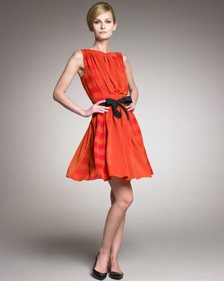 Pleated Bow-Waist Dress
