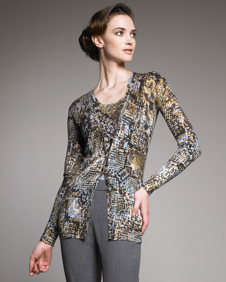 Python-Print Silk-Cashmere Cardigan