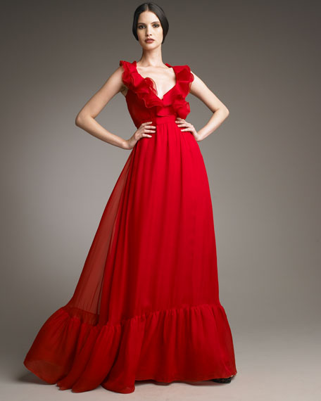 Bow-Waist Voulant Gown